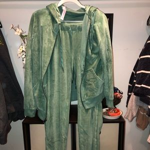 Green Velour Track Suit